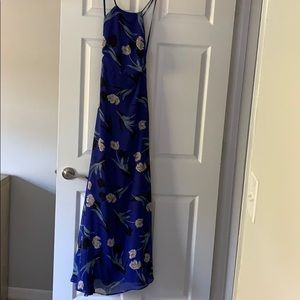 All I Need Royal Blue Floral Print Lace-Up Maxi